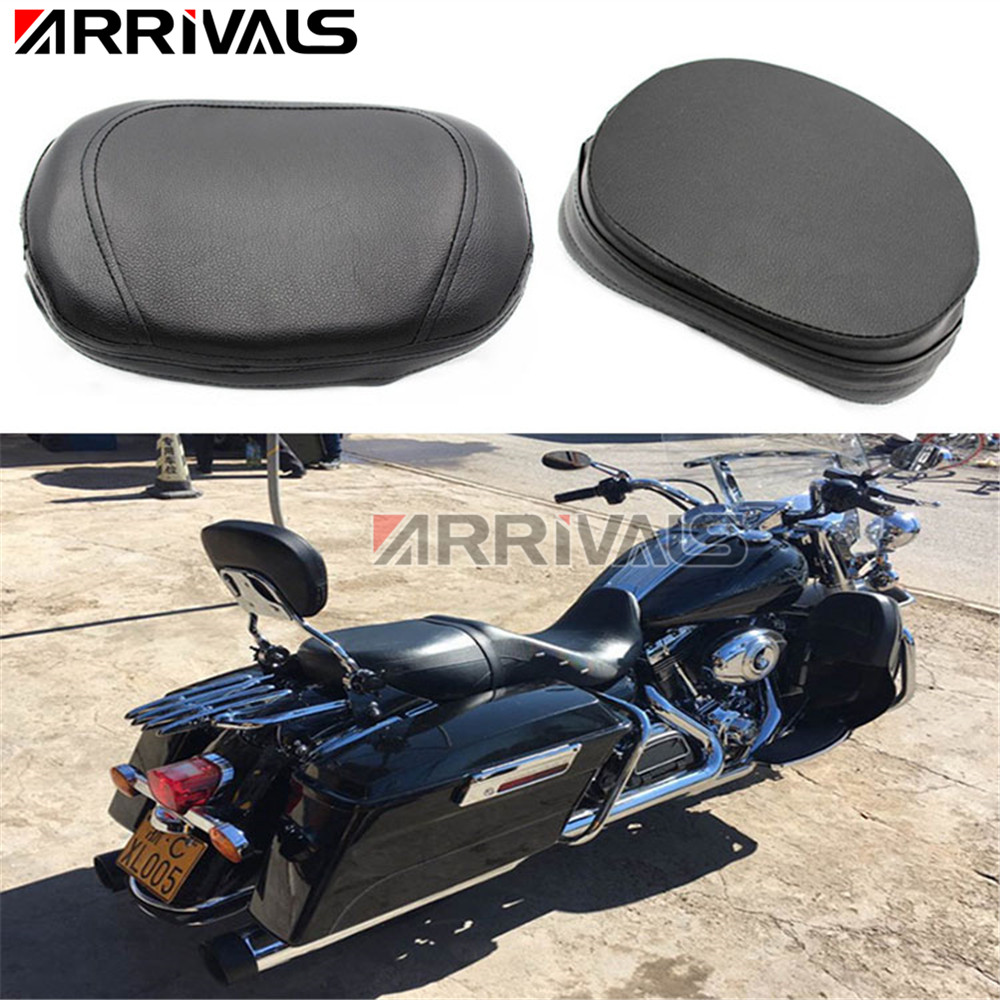 ARRIVAL Motorcycle Accessories Universal Black Leather Rear Passenger Backrest Seat Cushion Pad For Harley Sportster Dyna
