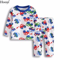 Hooyi Digger Vehicle Baby Boys Sleepwear Clothes Suit 100% Cotton Newborn Pajamas Kids Sleep Sets Long Pajamas T-Shirt Pant Soft