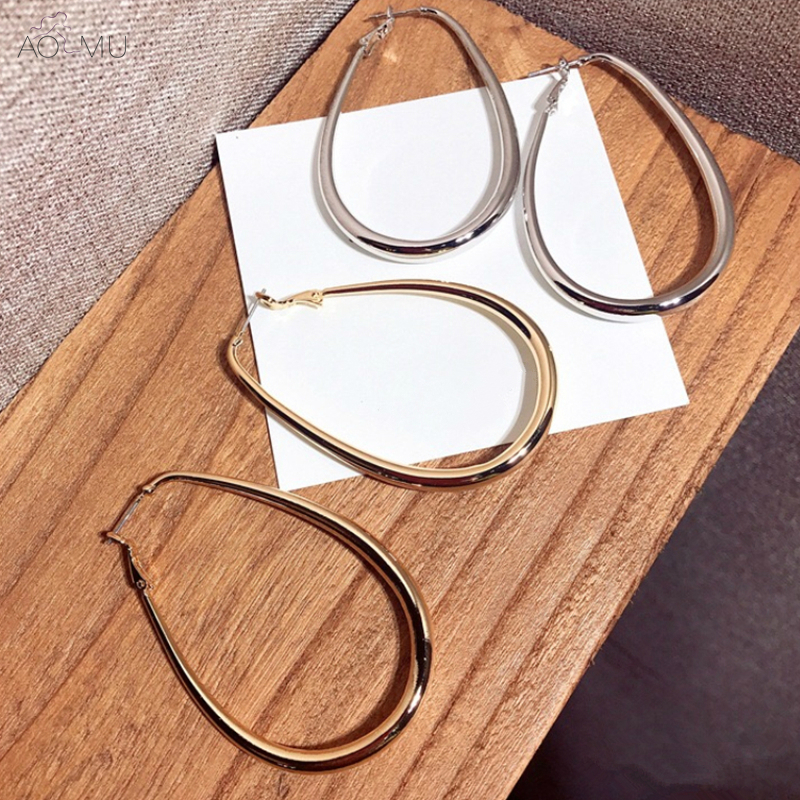 AOMU Korea Design Gold Metal Wide Round Circle Geometric Oval Big Hoop Earrings for Women Girl Large Party Earrings circle