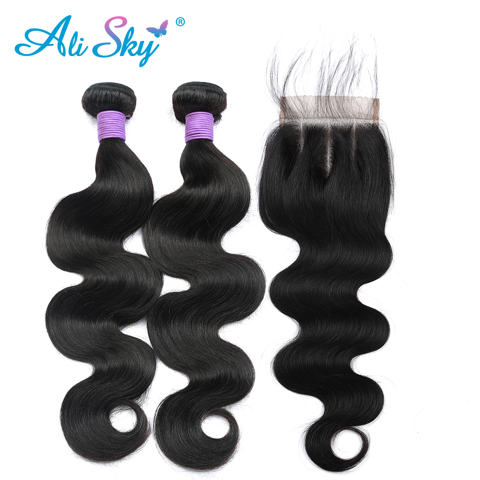 Body Wave Hair Bundles With Closure Brazilian Human Hair Weave 2 Bundles With Baby Hair Closure Ali Sky Human Non-remy Hair Hair Extensions & Wigs 3/4 Bundles With Closure