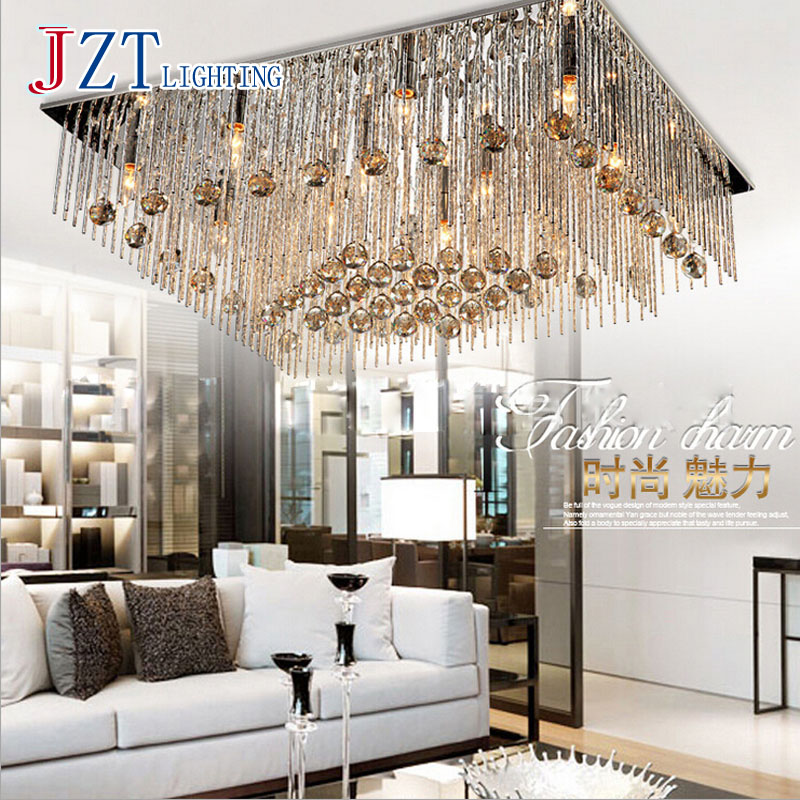 T Lucury Romantic Rectangular Crystal Ceiling Light Modern Creative LED Super bright Lamps For Foyer Home Bedroom DHL Free