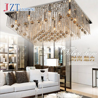 T Lucury Romantic Rectangular Crystal Ceiling Light Modern Creative LED Super Bright Lamps For Foyer Home
