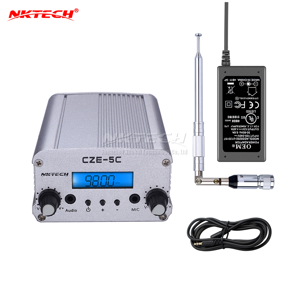 NKTECH CZE-5C PLL FM Transmitter Radio Broadcast Station 1W/5W Stereo Frequency 76-108Mhz Professional Campus Amplifiers Audio