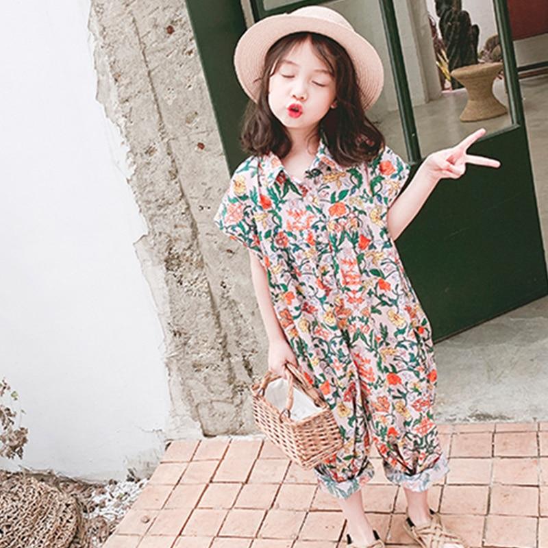 Girls Jumpsuit 2019 Summer Floral Girls Overalls Jumpsuit For Girl Harem Pants Korean Girls Palysuit
