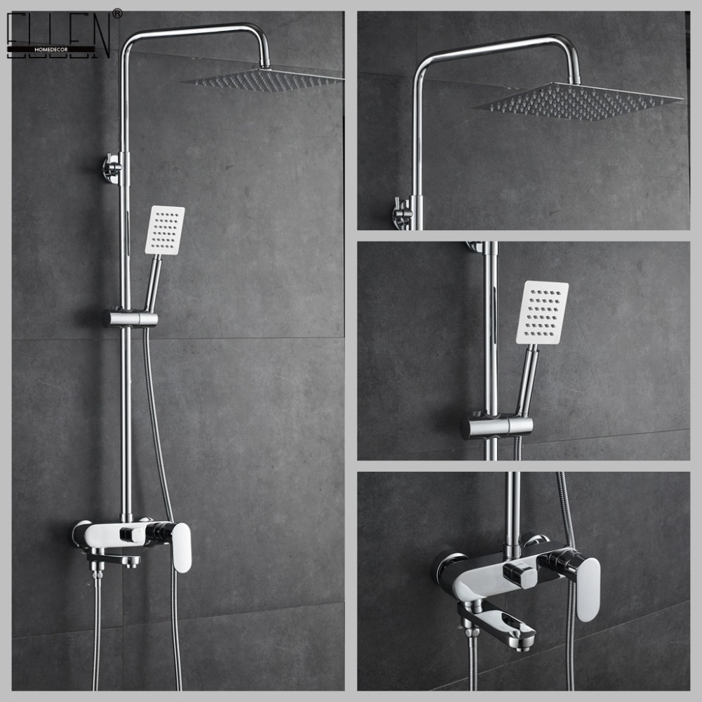 Bathroom Shower Set 10 12 inch Rain Shower Faucets Bath Mixer with Hand Shower Chrome Bath