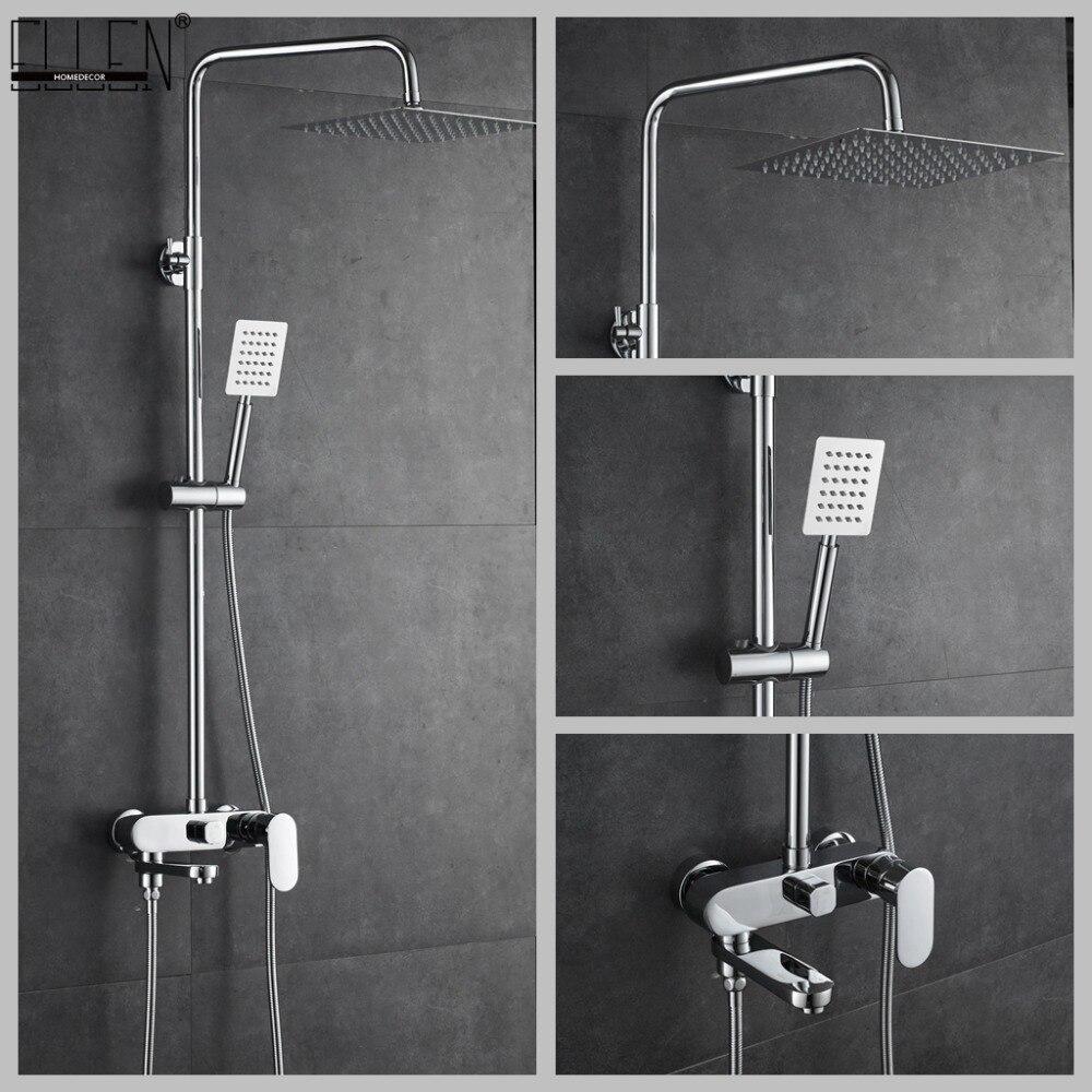 Bathroom Shower Set 10-12 inch Rain Shower Faucets Bath Mixer with Hand Shower Chrome Bath Shower Mixer Faucet EL8407Bathroom Shower Set 10-12 inch Rain Shower Faucets Bath Mixer with Hand Shower Chrome Bath Shower Mixer Faucet EL8407