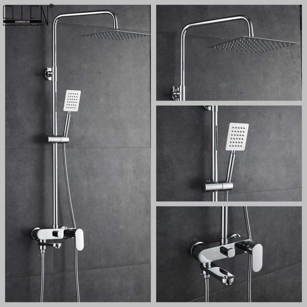 Bathroom Shower Set 8-10-12 inch Rain Shower Head Bath Shower Mixer with Hand Shower intelligent digital display bathroom shower set 8 inch rainfall shower head bath shower mixer with rain hand shower