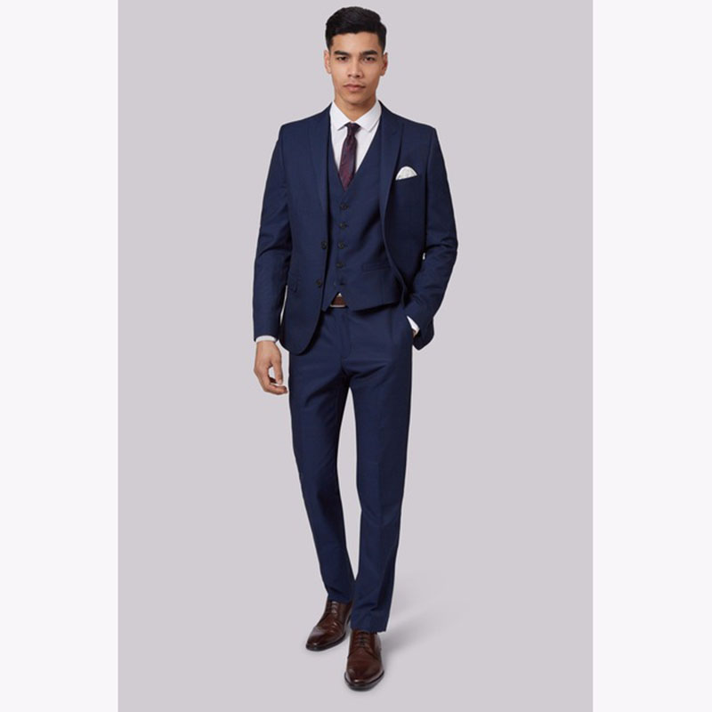 (jacket+Pants+Vest) 3 piece Slim fit Blue Mens Suits terno masculino 2017 Wedding Groom Wear Men Suit 2017 Costume Mariage Homme