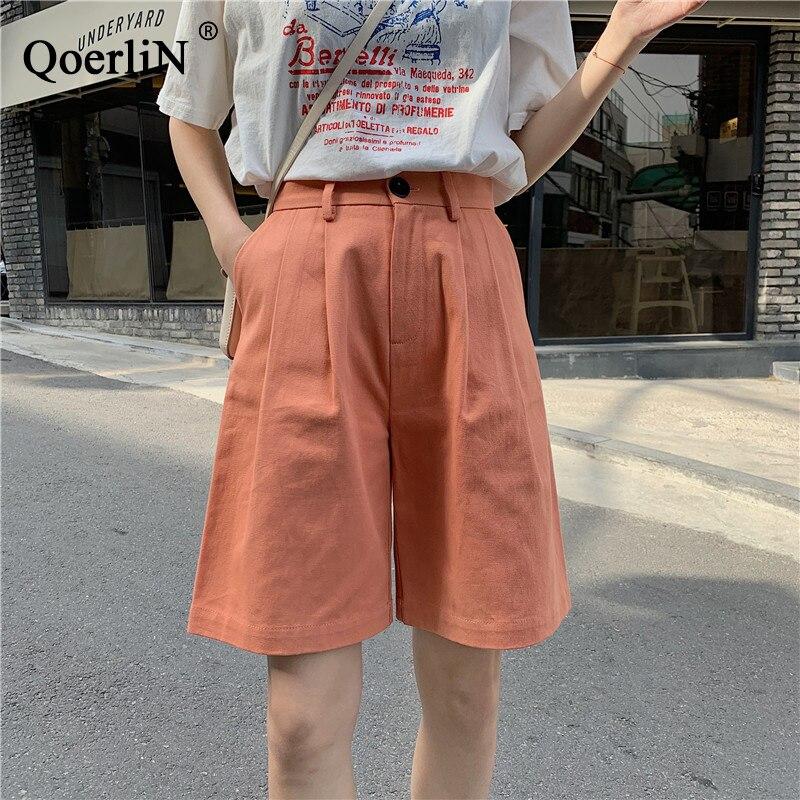 QoerliN Knee Length Cargo   Pants   Women Summer Loose Casual Trouser Street Wear Girls   Wide     Leg     Pants   Fashion Solid Half   Pants   S-L