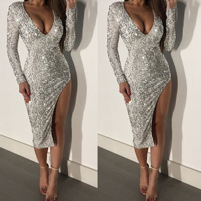 0fe39639b886 High Quality Women Sequins V Neck Long Sleeves Bodycon Dress Evening Party  Dress Solid Sheath Knee-Length Spring Dress #0207
