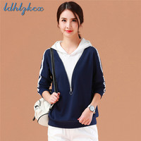 Royal Blue Pullover Long sleeved Hooded Hoodies Women 2018 Autumn New Korean Loose Casual Slim Elegant Chic Hooded Hoodies LD263