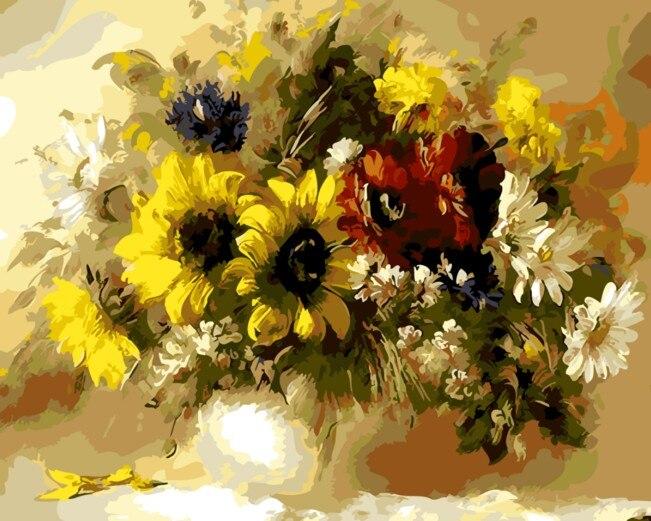 Zarámovaná nástěnná malba obrázkem podle čísel Květiny domácí výzdoba malování čísly s rámečkem jedinečný dárek Omalovánky čísly 4050