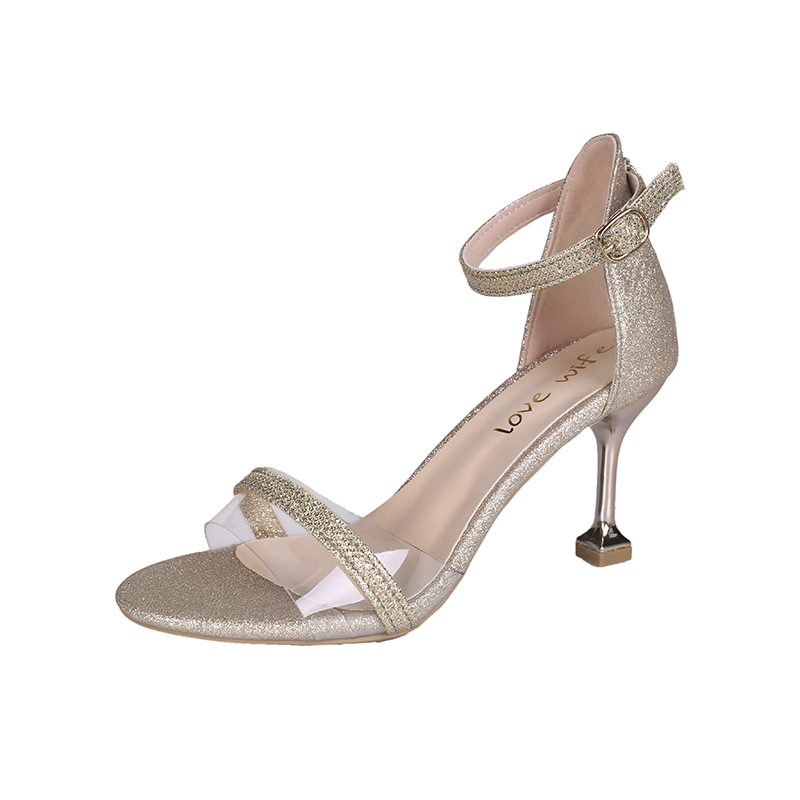 Shoes women's Shoes Sandals With Buckle High Heels Gold And Silver Wedding Shoes