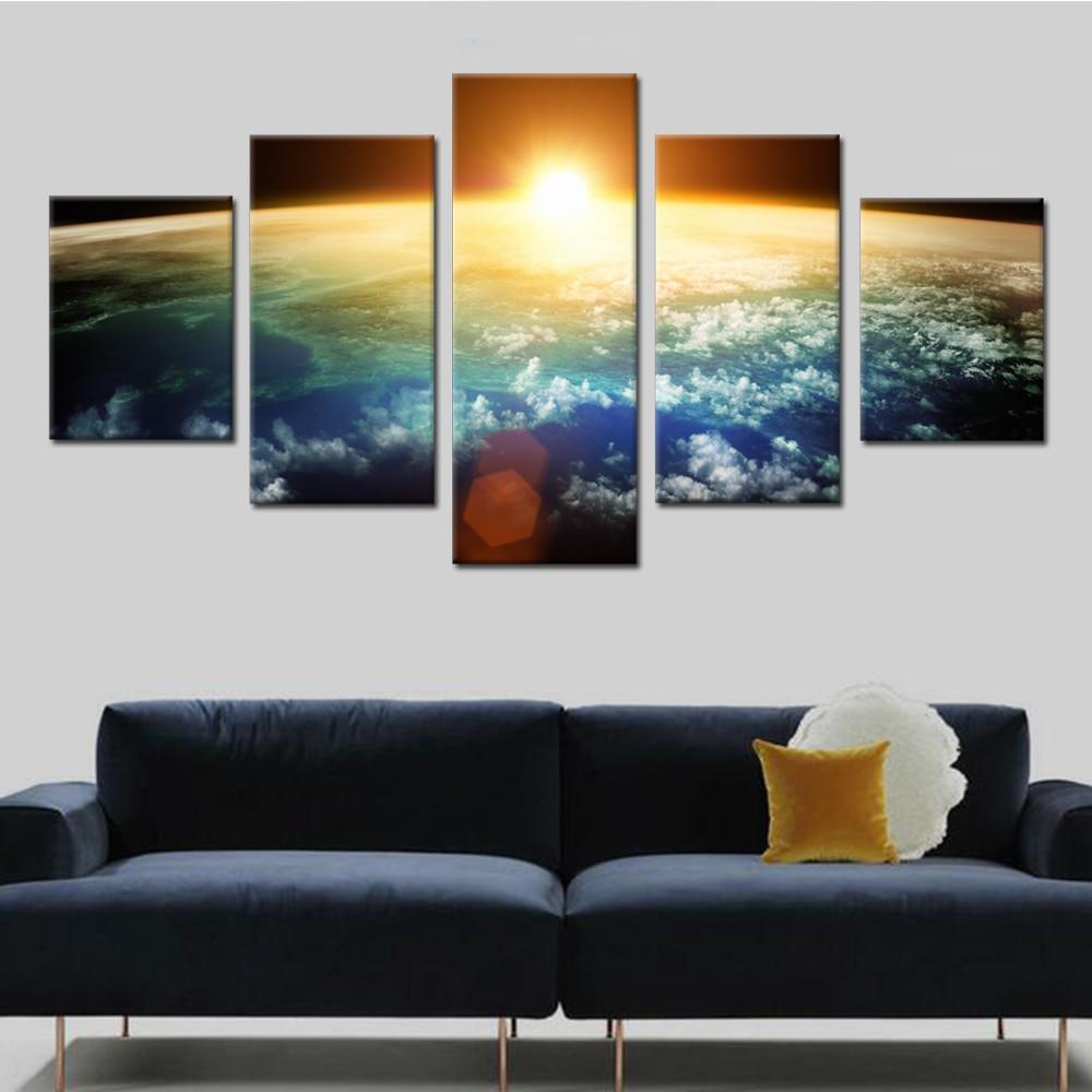 Sonnenuntergang Von Weltraum Leinwand Set Leinwand Bilder für Wohnzimmer zimmer Modulare Gemälde an Der Wand Billigen Wandkunst Drop verschiffen