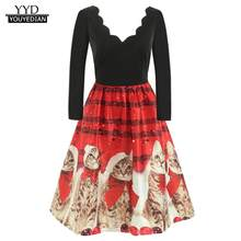 2018 Autumn Winter Christmas Dress Women Long Sleeve Christmas Cats Musical Notes Print Vintage Flare Dress female Party Dress(China)