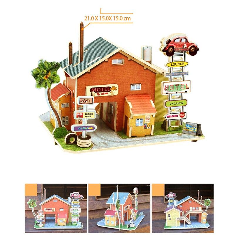 Малыш Дети DIY древесины Сборка игрушки деревянные модели 3D головоломки Развивающие игрушки для детей замок модель головоломки Ретро строит...