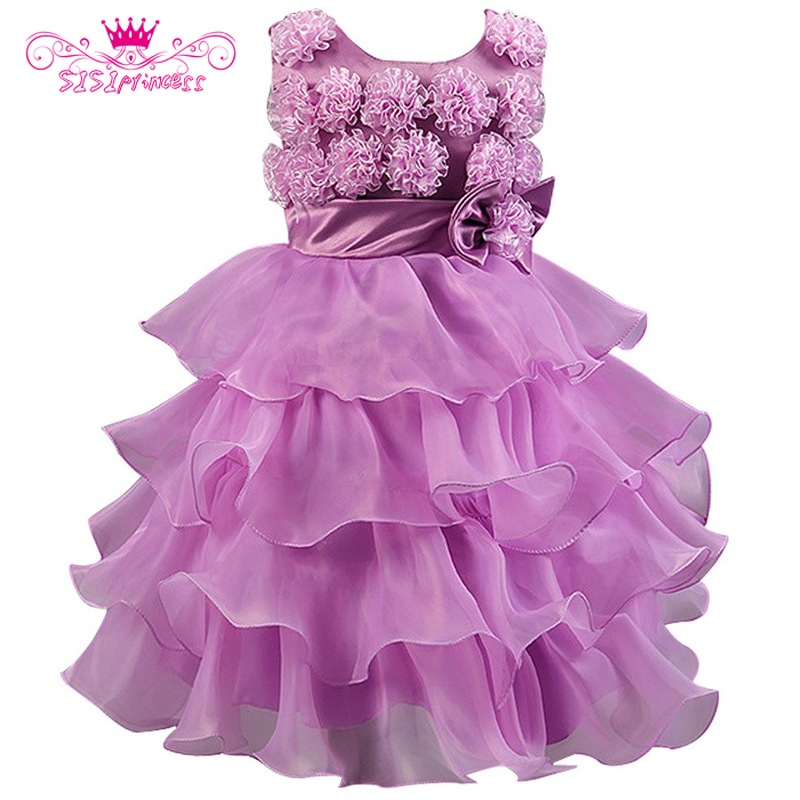 ФОТО Sisiprincess Summer Style 1-10T Children Girls Sleeveless O-Neck Floral Bow Princess Casual Girl Party Dress 3
