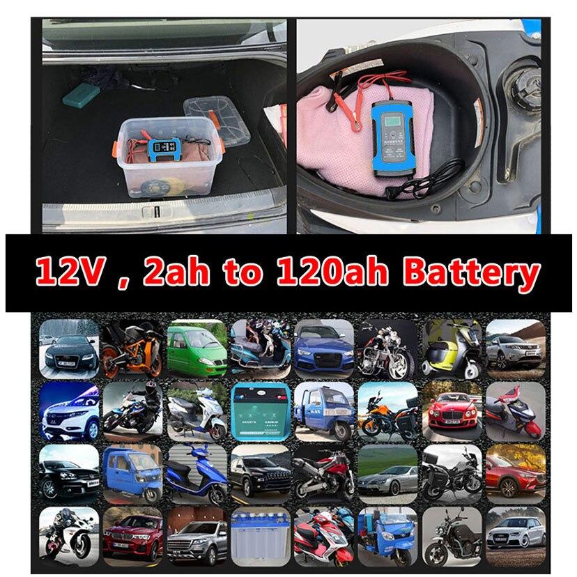 Image 3 - 12 V 6A ЖК дисплей смарт адаптер для быстрого автомобильного Батарея Зарядное устройство для авто свинцово кислотная аккумуляторная коллоидная батарея интеллигентая (ый) зарядки 12 вольт 6 A AMP-in ЗУ для аккумуляторов from Автомобили и мотоциклы