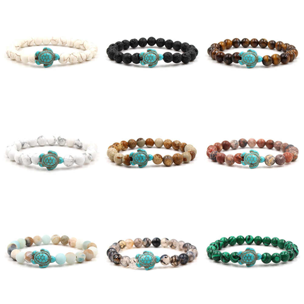 Nowy żółw morski koraliki bransoletki dla kobiet mężczyzn klasyczny kamień naturalny elastyczna bransoletka przyjaźni lato plaża biżuteria 14 style! !!