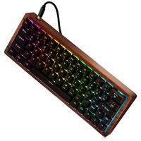 Mechanical Gaming Keyboard,Mini Mechanical Keyboard with RGB LED Backlit and Wooden Frame (Cherry MX Red Switches)