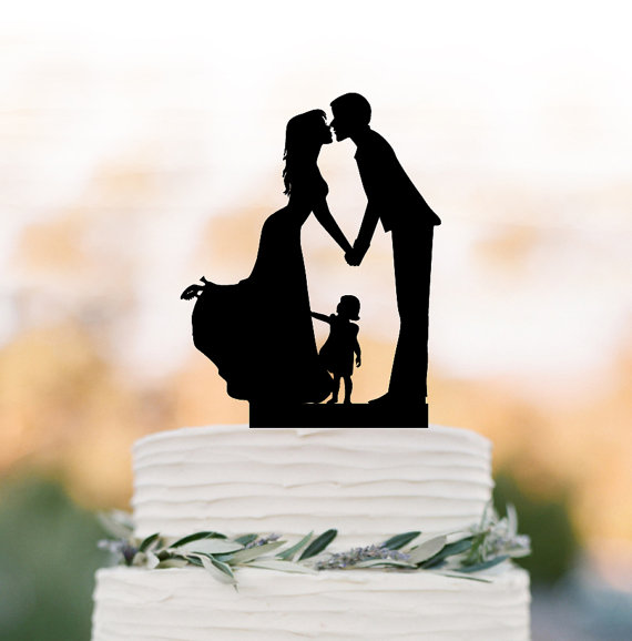 Family Wedding Cake topper with girl, wedding cake toppers ...
