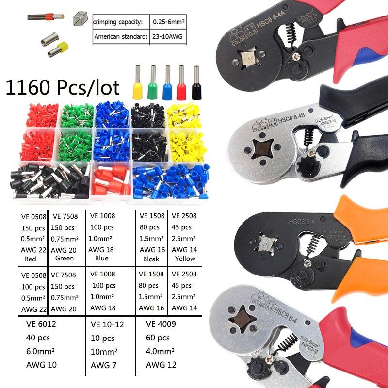 Hsc8 6-4 Elektriker Crimp Zange 0,25-6mm 23-10awg Vier Ecken Rohr Inversion Terminal Crimpen Zangen Hand Crimp Werkzeuge Werkzeug Online Shop Zangen Handwerkzeuge