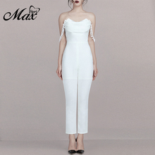 Max Spri 2019 New Sexy V Neckline Backless Off Shoulder Strapless Jumpsuit Summer Women Causal Outfit Runway With Skinny Pants все цены