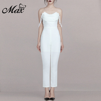 Max Spri 2019 New Sexy V Neckline Backless Off Shoulder Strapless Jumpsuit Summer Women Causal Outfit Runway With Skinny Pants