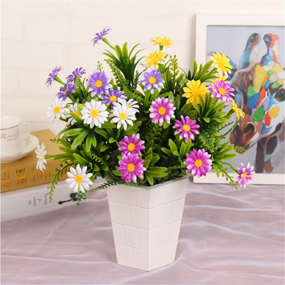 Online get cheap artificial daisy leaves aliexpress alibaba 2017 1pcs 7fork artificial plastic small daisy flower plants floral decor fake leaves simulation small plant dhlflorist Gallery