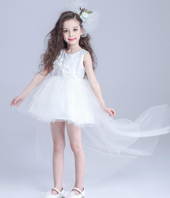 Robes enfants pour filles 3-14 ans 2017 nouveau Design robes de demoiselle d'honneur pour les mariages robe de fête d'anniversaire enfant longue queue