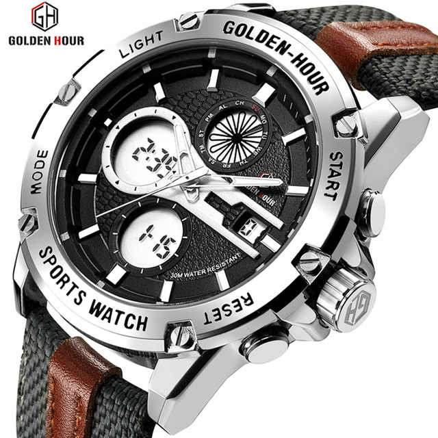 GOLDENHOUR Men Fashion Army Military Watch Mens Dual Display Waterproof Quartz Wristwatches Luminous Hands Sport Clock Relogio