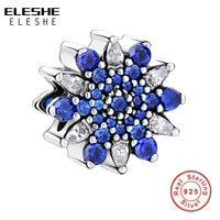 Original 925 Sterling Silver Ariel S Ice Crystal Blue Clear CZ Charm Fit Pandora Bracelet Necklace