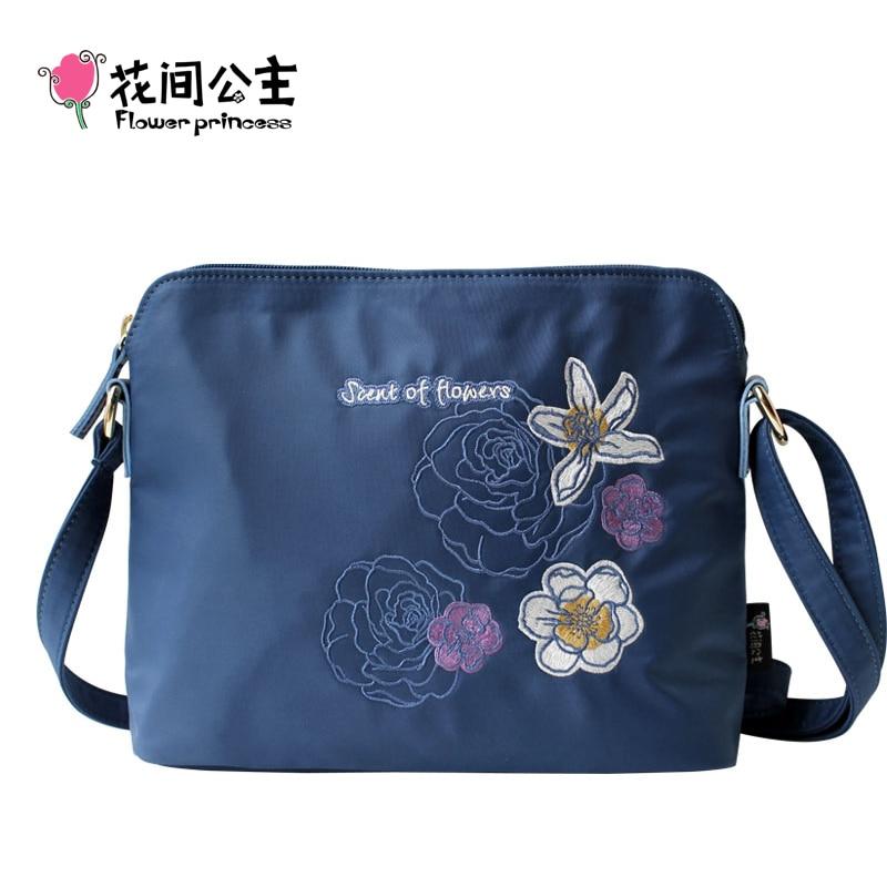 Flower Princess Brand Women Messenger Bag Girl Nylon Embroidery Crossbody Shoulder Shell Bag bolsa feminina bolso mujer moda