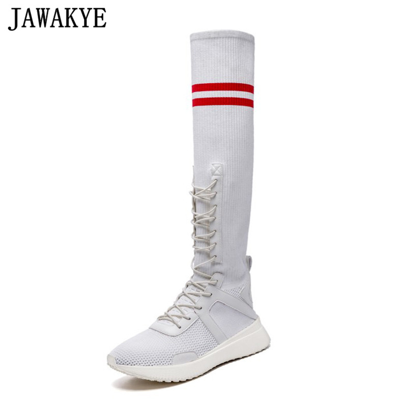 New Classic flat Heels Elastic knee high Boots for Women Knitted casaul Shoes white black stripe platform sneakers sock shoes