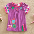 Flags 2016 new summer baby&kids cotton embroidered fashion novel round collar T-shirt short sleeves baby girl clothes G6109