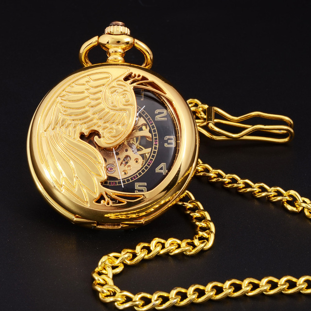 Retro Gold Semi-hollow Phoenix Wings Carving Case Men Hand Wind Necklace Fob Clo