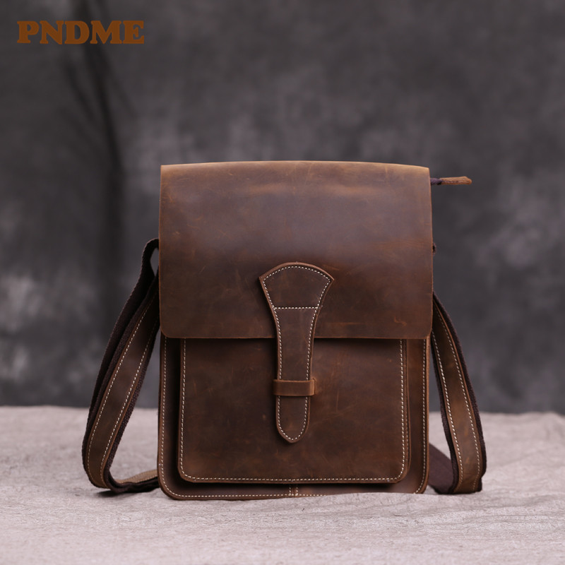 Crazy horse leather European man bag vintage British made old postman bag cross-shoulder shoulder leather nostalgiaCrazy horse leather European man bag vintage British made old postman bag cross-shoulder shoulder leather nostalgia