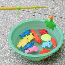 Random Style 3PCS/lot Magnetic Funny Fishing Toy Plastic Fishes For Children Educational Toys For Kids Fishing Game(China)
