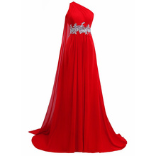 KapokBanyan Real Photo Red Chiifon One Shoulder A Line Prom Dress 2017 Simple Backless Long Party Gowns with Crystal Sashes