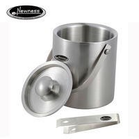 Newness Stylish Double Wall Insulated Stainless Steel Ice Bucket With Ice Tongs With Lid And Portable