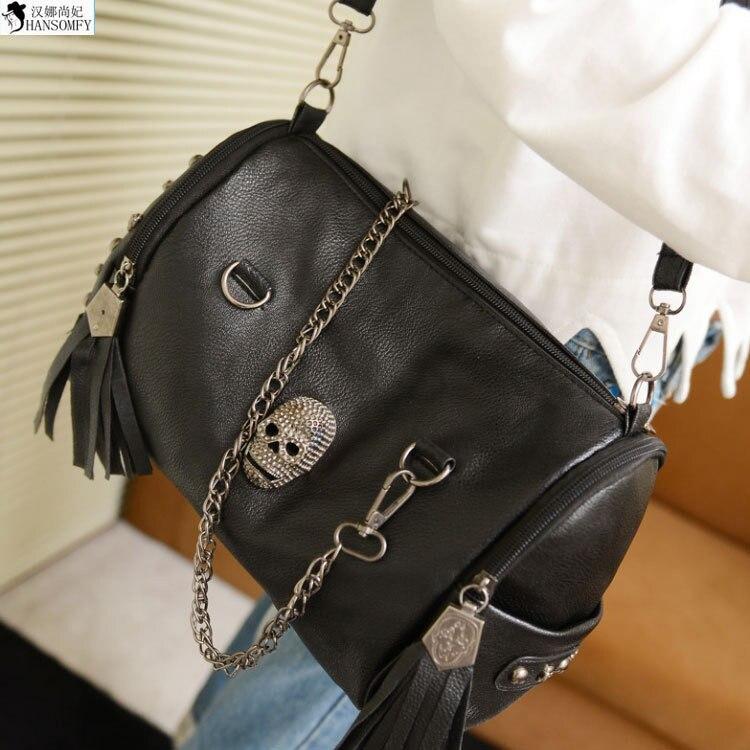 HANSOMFY  2015 Autumn Fashion Handbag Skull Diamond Rivet Fringed Bag Handbag Shoulder Satchel