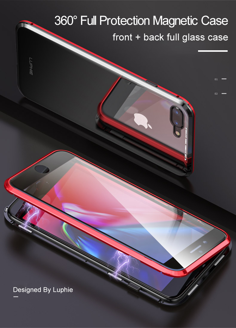 LUPHIE 360 Full Magnetic Case For iPhone X XS Max XR 8 7 Plus glass case (1)