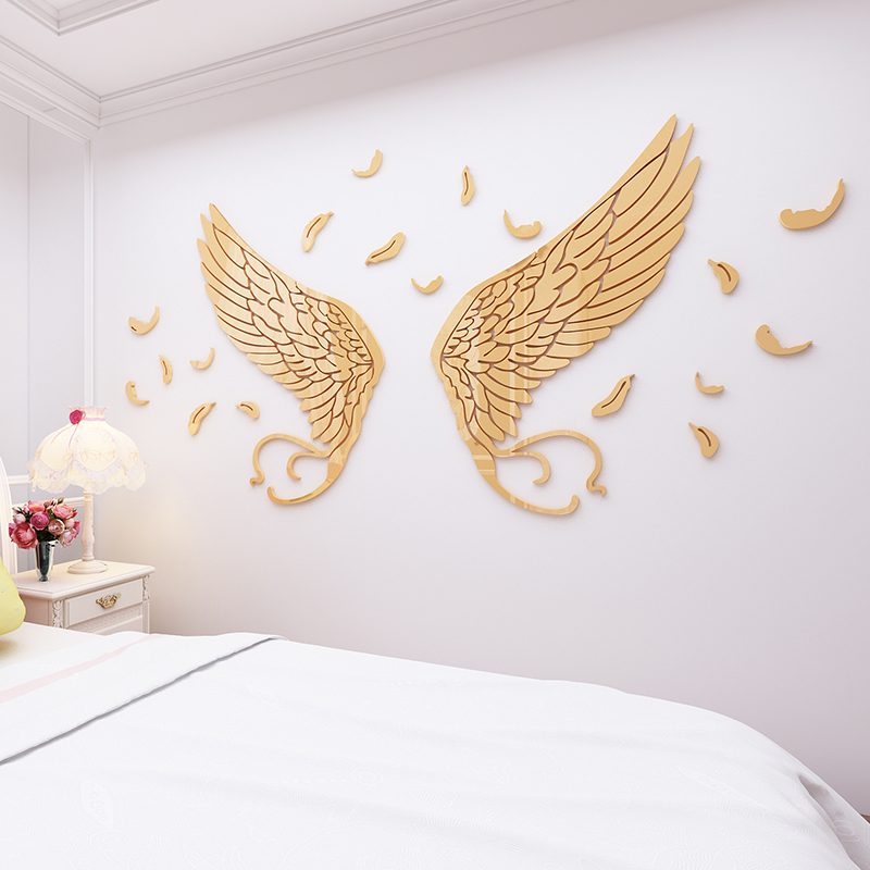 Décoration de salle de mariage dessin animé plumes chaud 3d auto-adhésif cristal acrylique stickers muraux fille chambre décoration murale autocollant