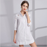 White shirt women 2018 spring wear new medium and long European and American women's fashion loose large size embroidery embroid