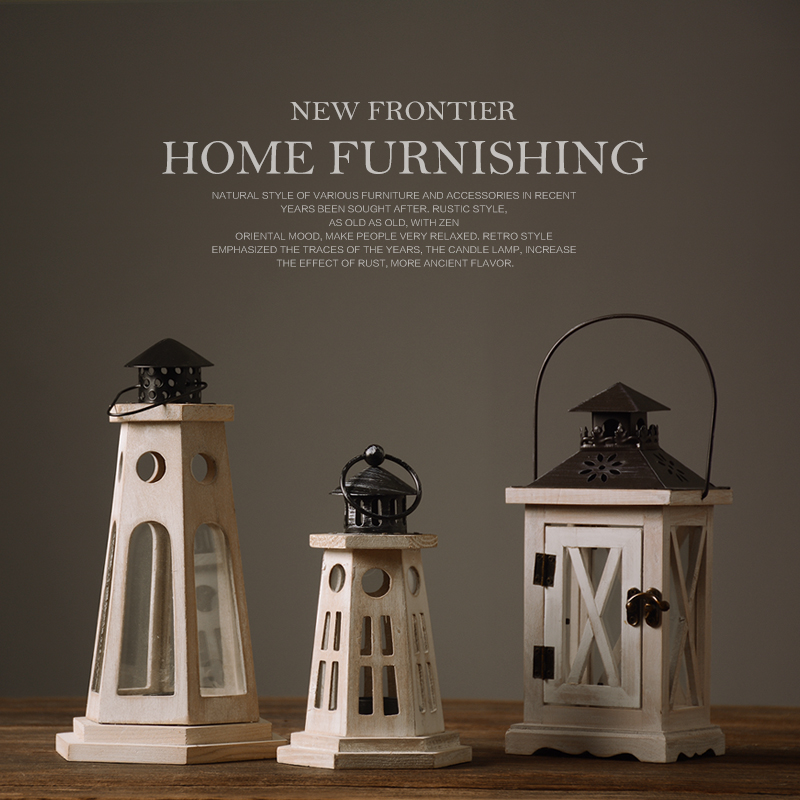 Retro Rustic Wood Christmas Festival Candle Holders Simple Home Furnishings Candlestick
