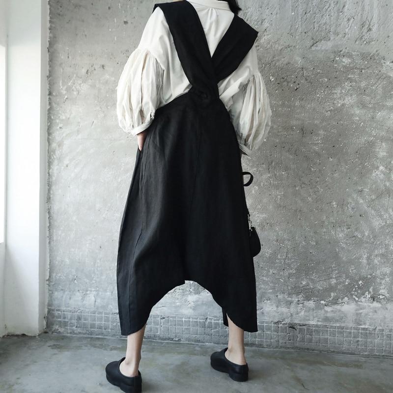 Mode Marée allumette Poche Tempérament Jambe Wkoud Tout De Eam2018 Je82201s Deux Automne Black Pantalon Bretelles Femmes Large Nouvelle D'été xq16qOa