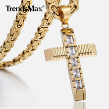 Men s Cross Necklace Gold Black Stainless Steel Byzantine Chain Necklace Male Jewelry Dropshipping Gifts for