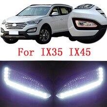 CAPQX 1 пара передний бампер светодиодный противотуманный светильник для hyundai IX35 IX45 Santa Fe SantaFe 2013- DRL Дневной ходовой светильник