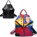 Bailar mulheres genuíno couro rebite mochilas para adolescente meninas patchwork de Couro de vaca do vintage saco bolsa de viagem mochila escolar moda
