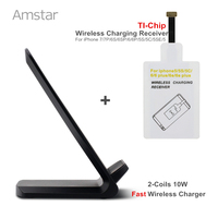 2 Coil 10W Fast Qi Wireless Charger Quick Wireless Charging Pad TI Chip Wireless Receiver For